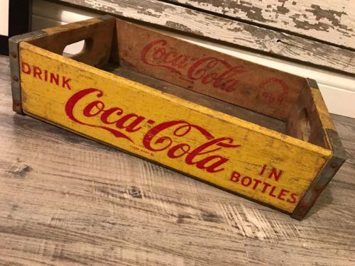 Vintage 1969 Yellow Coke Coca Cola Wood Soda Crate