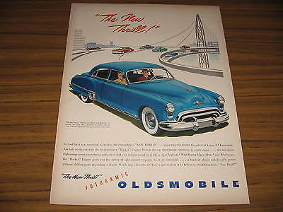 1949 Vintage Ad Futuramic Oldsmobile Olds on Bridge