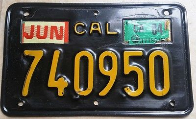 ==  1963 - 69 CALIFORNIA Motorcycle License Plate == Excellent!