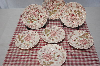 LOT of Johnson Bros. Rose Chintz 4 Bread and Butter plates, 4 Saucers, MINT!