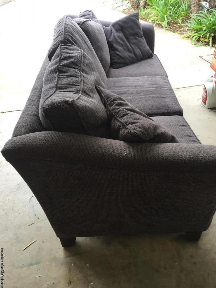 CURB ALERT - Grey Comfy Couch - well loved - FREE available at now (SDSU)