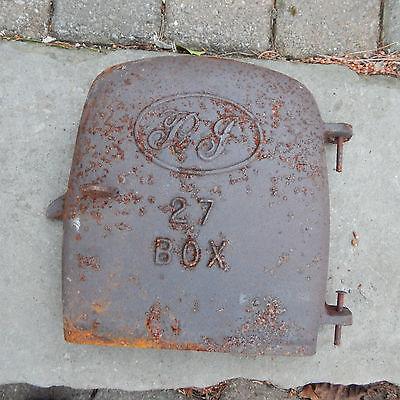 VINTAGE CAST IRON BOX WOOD STOVE DOOR