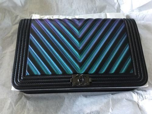 New CHANEL CHEVRON BOY SO BLACK Wallet On Chain WOC Bag CrossBody Limited!!