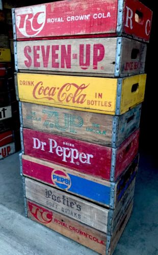 8 Vintage Wood Soda Crates Lot Pepsi Coca Cola RC Dr Pepper 7up