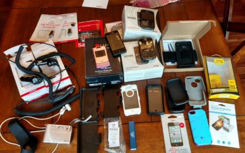 Cell phones and accessories lot