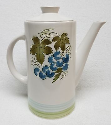 MINT Vintage 1960s BLUE GRAPES IRONSTONE Coffee Server w/Lid
