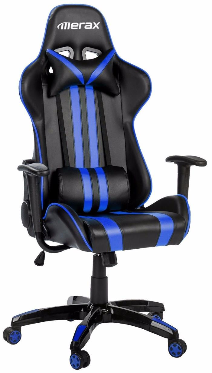 Merax Racing Gaming Chair Executive PU Leather Computer Desk Office Chair Blue