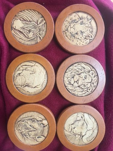 Vintage Coasters Wood Look Carved Animal Faces Set Of Six