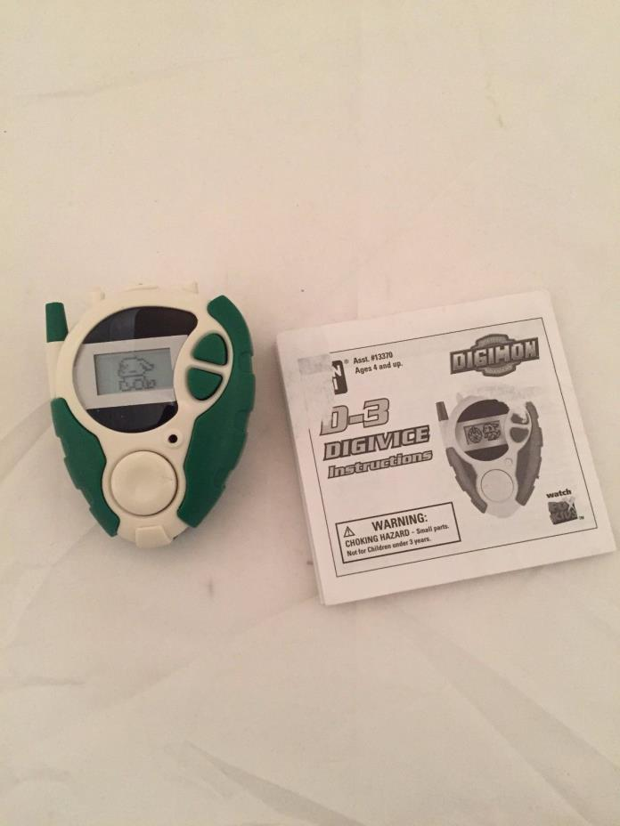 Bandai D3 Digimon Digivice Green White Working US Version 2000 with Instructions