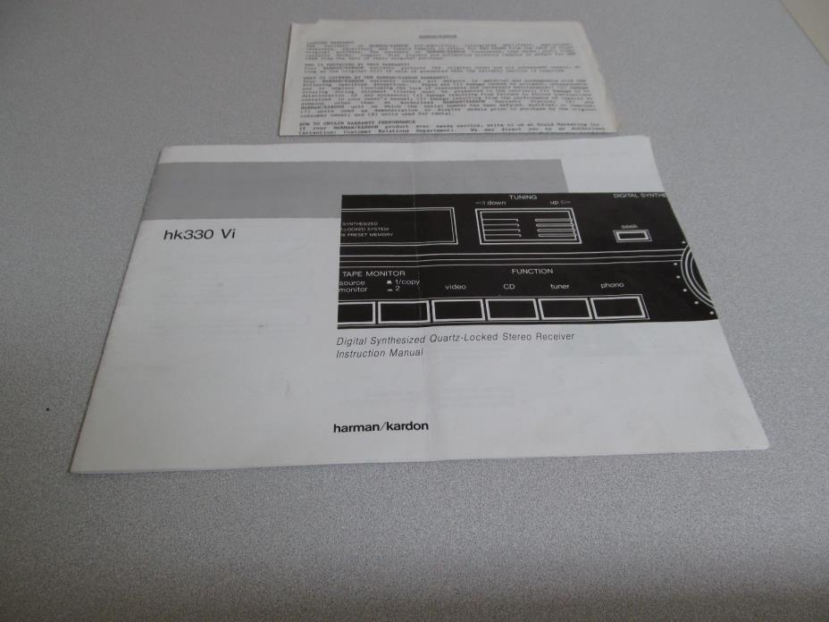 Harman Kardon HK330Vi Digital Stereo Receiver Owners Instruction Manual Warranty