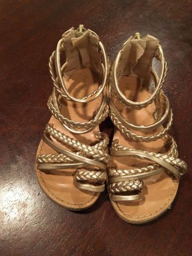 Girl Toddler Gold Metallic Gladiator Sandals - SIZE 8