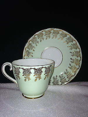 ADDERLEY H452 Tea Cup Pale Mint Green & Gold Floral Swags