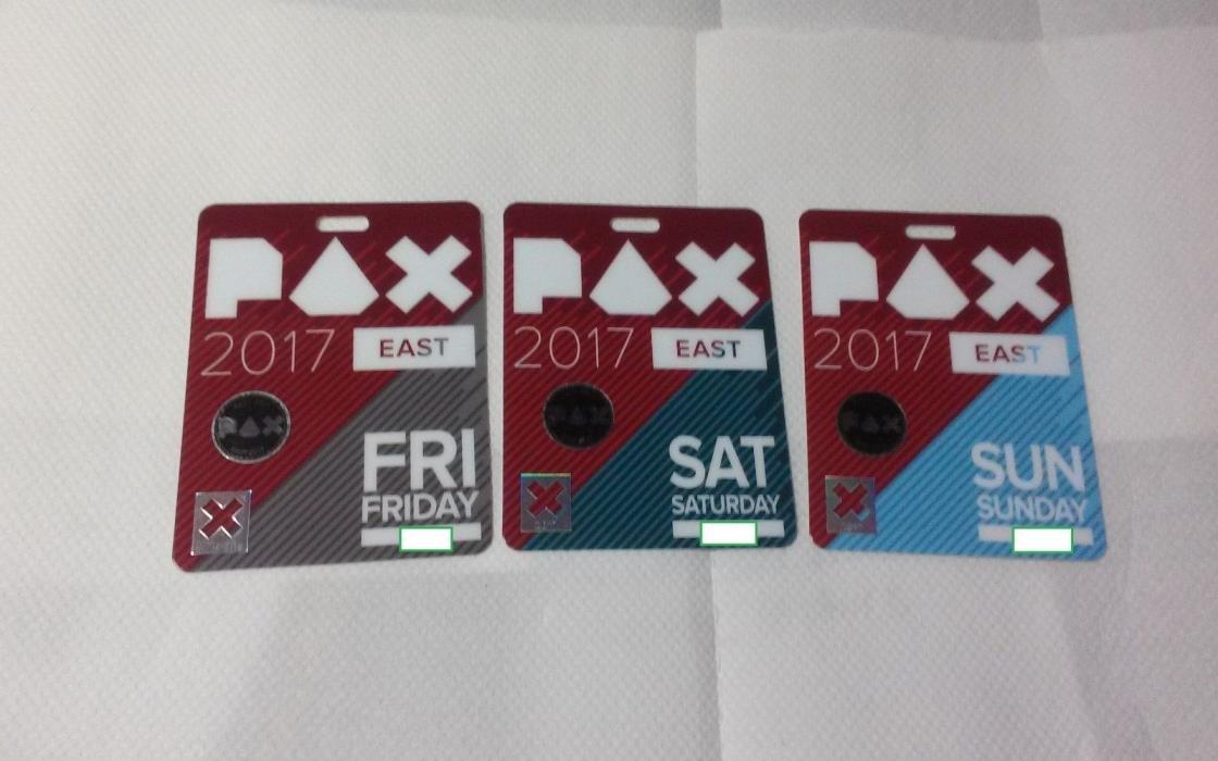 Used badge set PAX East 2017 Fri Sat Sun Boston March 10-11-12, 2017 Souvenirs