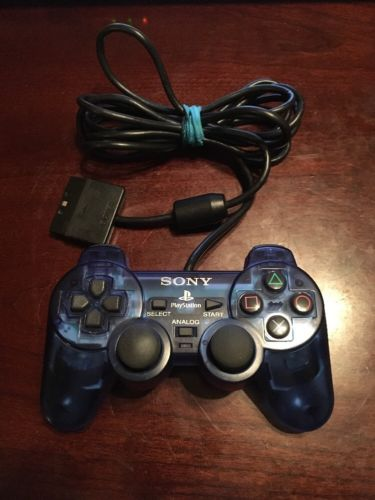 Sony Playstation 2 Ps2 Dualshock 2 Official Blue Controller OEM !