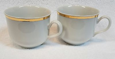 Vintage MINT Thun TK Czechoslovakia ANGELIKA Gold Trim Ivory Tea Cups x2