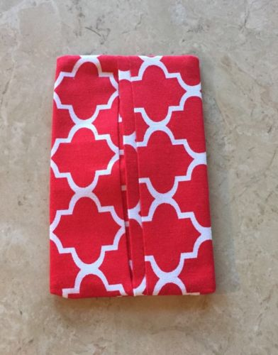 Purse Kleenex Tissue Holder, Red Quatrefoil Fabric, Handmade