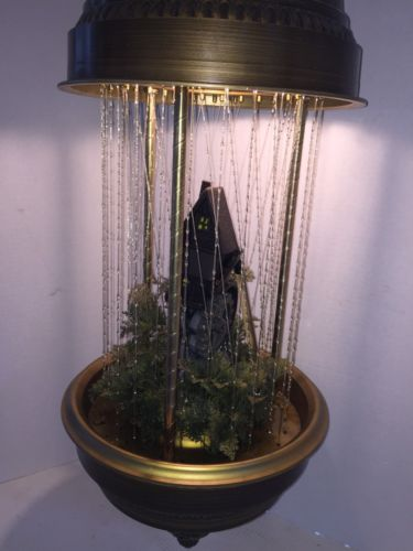Vtg 1970s Grist Mill/Water WheelRain LampLarge Hanging Swag Motion & Oil!