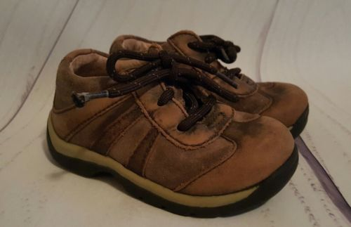 Stride Rite Toddler Size 5.5W Wide Brown Tan Leather Baby Boy Shoe