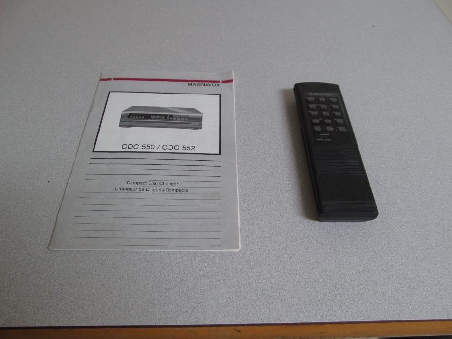 Magnavox CD Player CDC550 CDC552 Owners Manual AND Remote Control