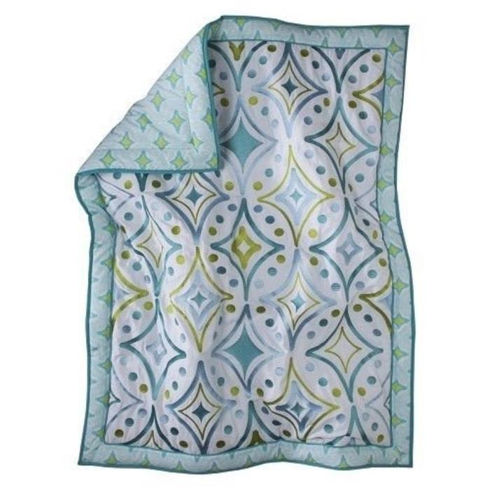 Mudhut Dawn Embroidered Crib Quilt  (Teal)