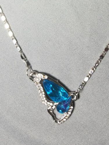 Women's Silver Butterfly necklace set 4 pc. Crystal Sky blue gift love bracelet