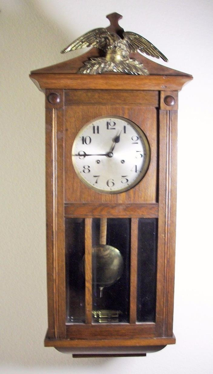 Antique JUNGHANS  GERMAN WALL CLOCK  STRIKES HRS & HALF HRS