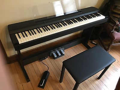 Yamaha P-255 Digital Piano - Black w/ factory stand, full pedals, bench  & cover