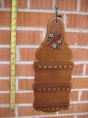 Vintage 18 Spoon *** BIRD *** Wooden Souvenir Collector SPOON RACK