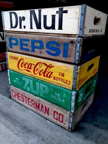 5 Vintage Wood Soda Pop Crates Dr Nut Coke Pepsi Chesterman & 7up Lot