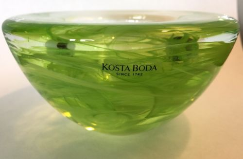KOSTA BODA Sweden ATOLL Lime green SWIRL CANDLE HOLDER