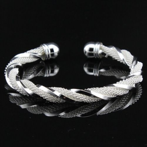 new womens twisted weave 7 inch stretch cuff bracelet 925 sterling silver