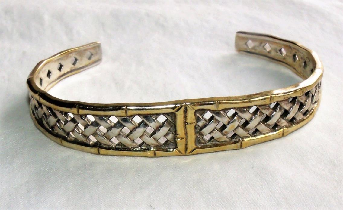 INTERNATIONAL STERLING Silver Bracelet basketweave cuff 23.3 grams