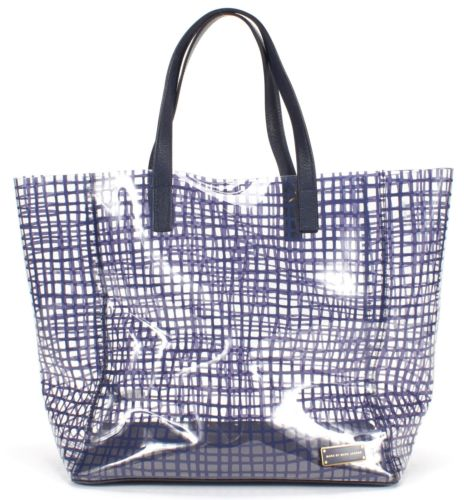 MARC BY MARC JACOBS Navy Blue Clear Grid Print PVC Checkmate Tote Bag