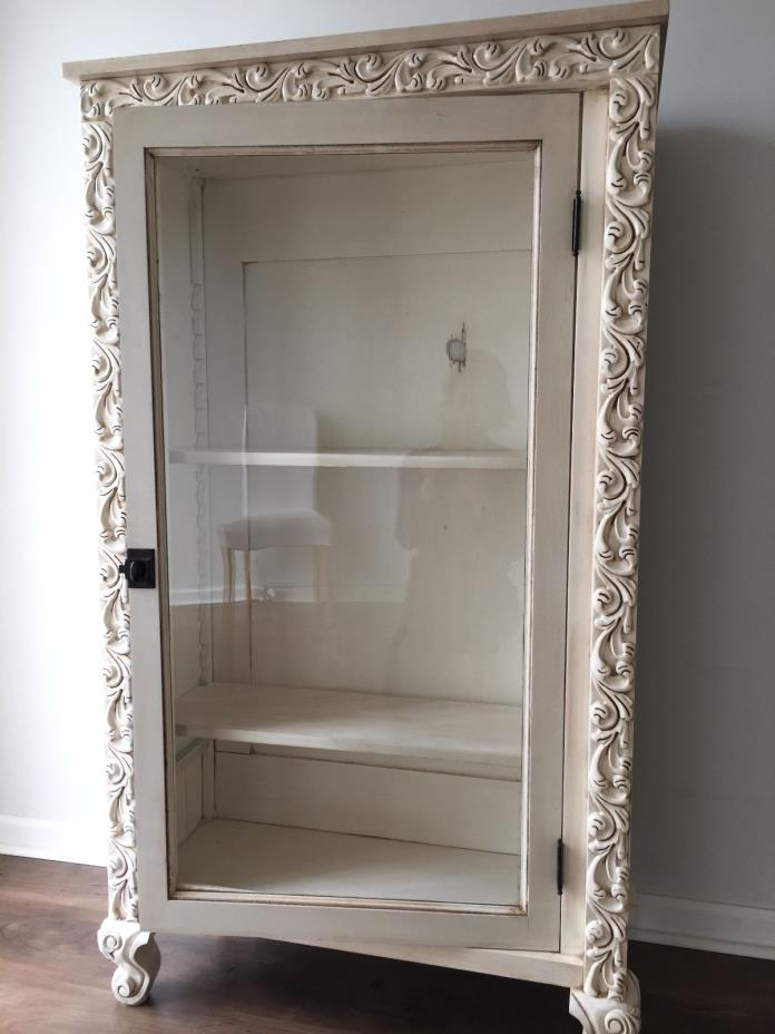 Armoire - Antique White with latch front glass door