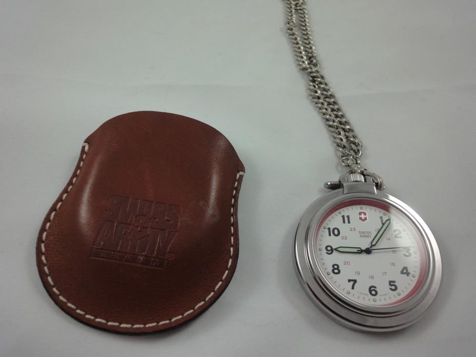 Victorinox Swiss Army Pocket Watch w/Belt FOB and Pouch-48mm--Excellent Cond