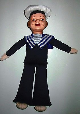 Vintage Celluloid & Stuffed Sailor Doll Bremerhaven Germany