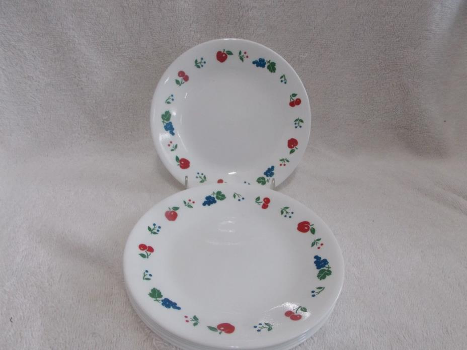 6 Corelle Berries and Cherries 6 3/4 Inch Bread Plates Apples Cherries Grapes