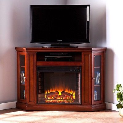 TV Console w/ Fireplace Electric Space Heater Shelves Cabinets Furniture Decor