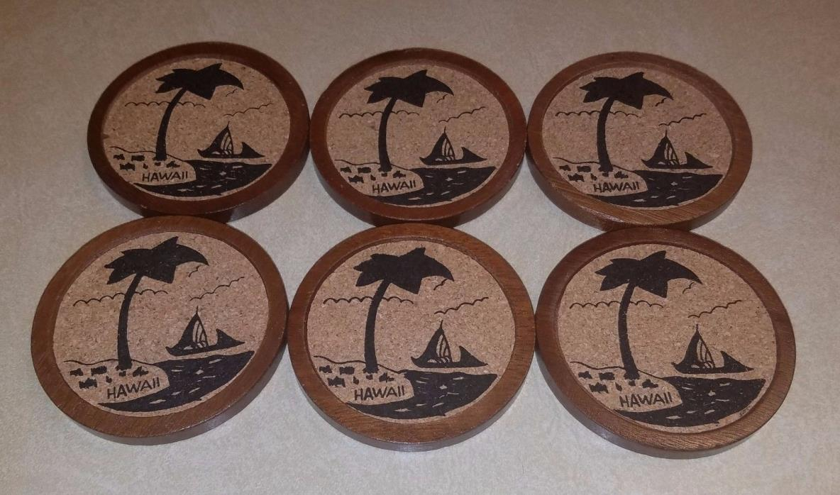 Vintage Hawaii Sailboat Wooden Cork Style 6 Piece coaster Set