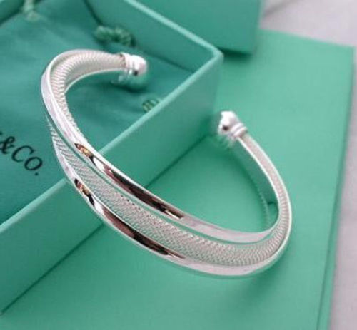 womens 6 inch weave twist cuff bangle bracelet 925 sterling silver 0.5 inch wide