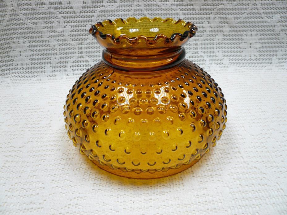 Vtg Amber Hobnail Hurricane Repacement Lamp Shade Glass Ruffled Top Globe 7