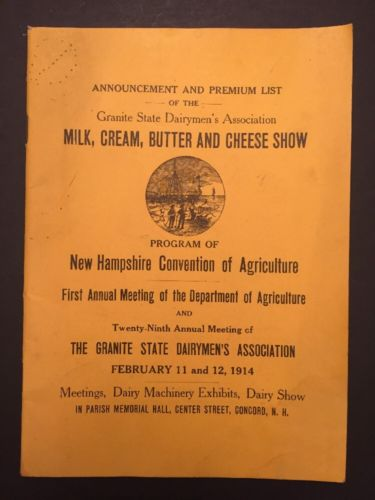 1915 Concord New Hampshire Convention Of Agriculture Milk Cream Dairy Show