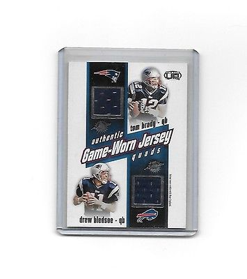 TOM BRADY 2002 PACIFIC HEADS UP-AUTHENTIC GAME WORN JERSEY QUADS $PATS-BLEDSOE