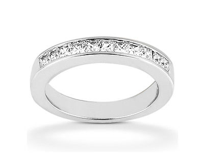11Stone 0.66ct Diamond Wedding Band Ring 18k White Gold Princess G SI1 Channel