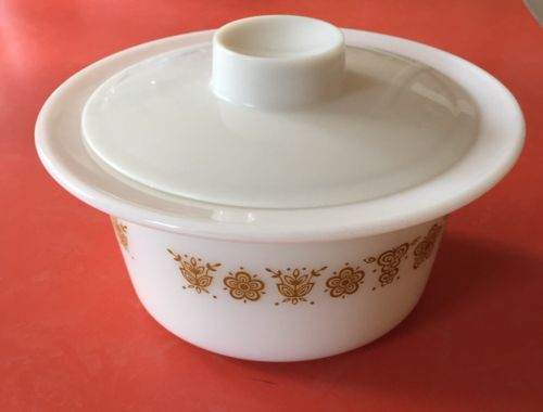 Pyrex Corning Corelle Butterfly Gold Butter Dish/Bowl/Crock with Lid #75