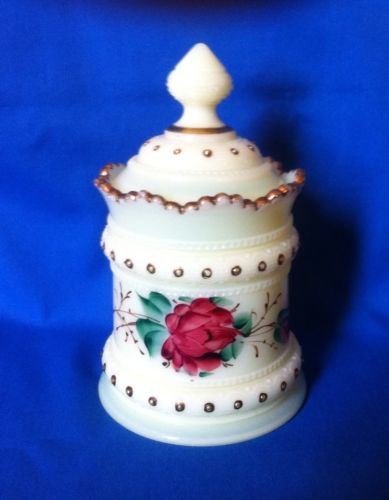 Rare Ring Band Sugar Bowl & Lid Custard - Floral Rose Pattern Glass Heisey 1900
