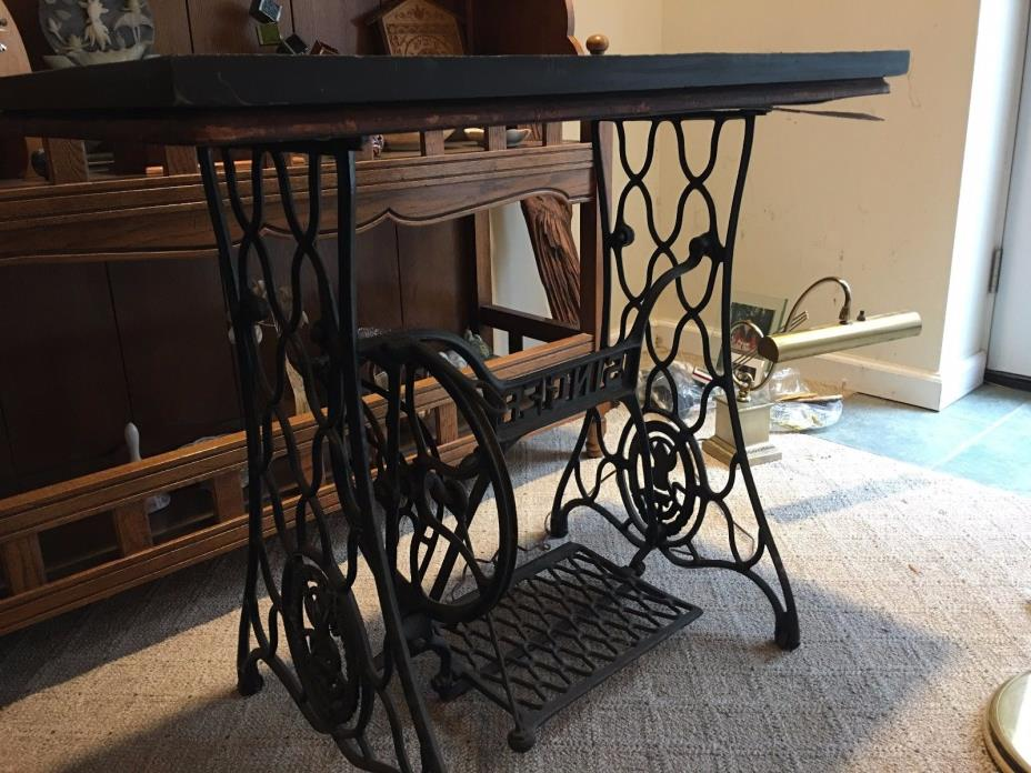 antique singer sewing machine table