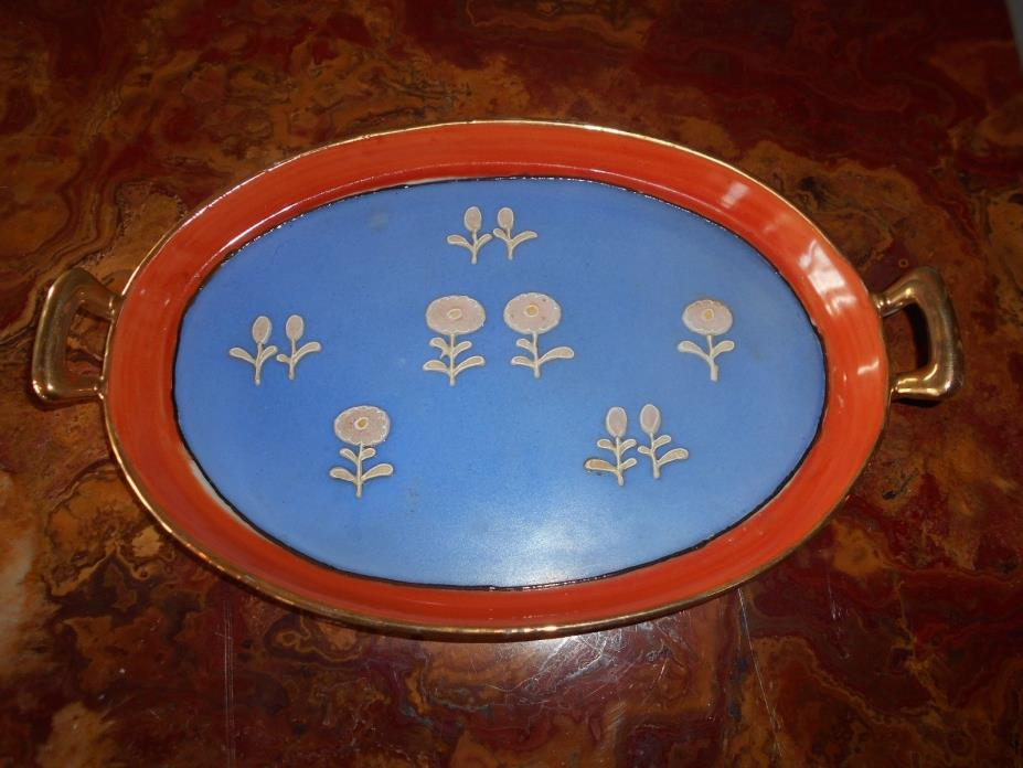 Handpainted Oval Dish With Handles Gold Trim With Blue Raised Floral Design RARE