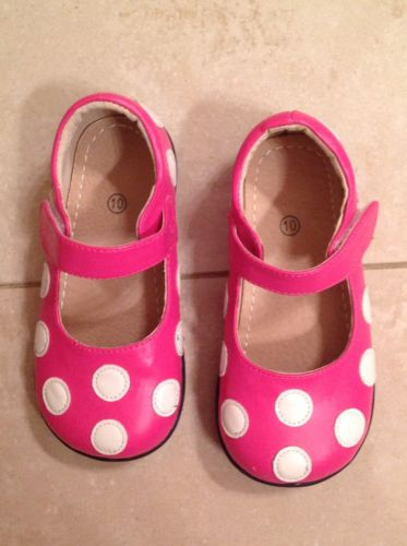 Boutique Leather Mary Jane Pink & White Polka Dot Shoe Toddler Size 10 GUC