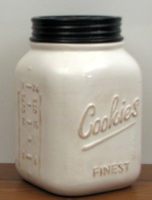 White Ceramic Mason Cookie Canning Jar  Young's Country Kitchen Rustic Vintage